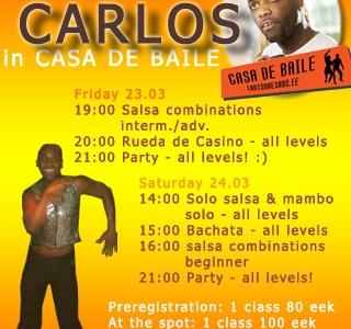Carlos Correa Triana salsa-workshop 23-24 märtsil!